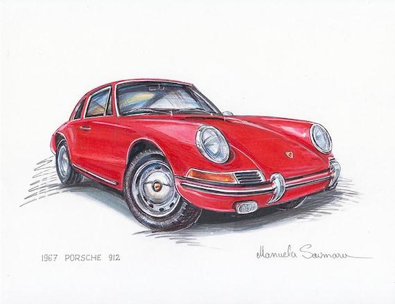 1967 Porsche 912 Painting Print Car Art Vintage Auto Etsy