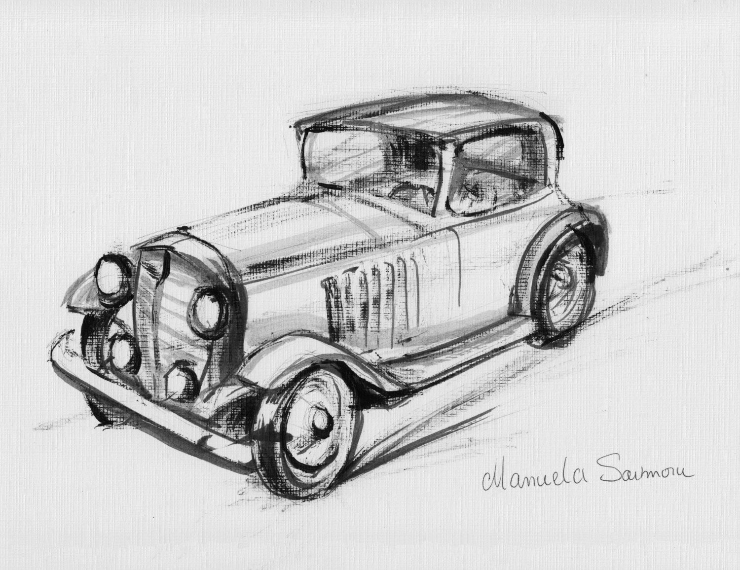 Classic Car Drawing Original Print Expensive Automobile Old Etsy