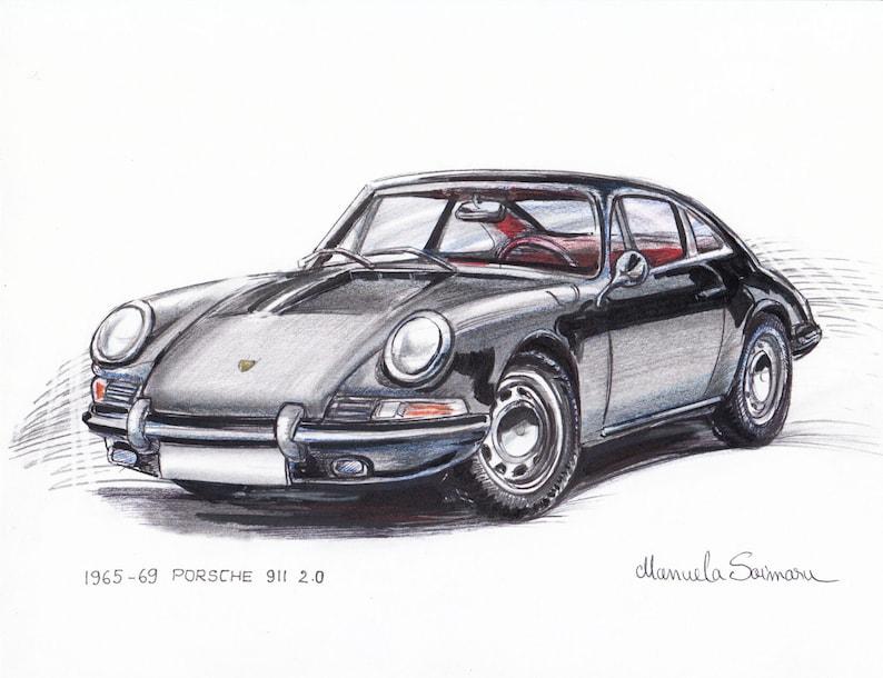 Porsche 911 Print Gift German Car Drawing Car Illustration Etsy