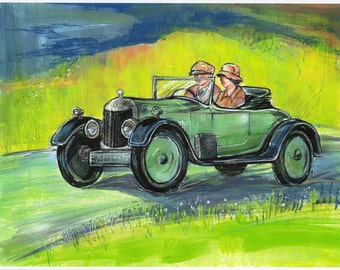 Car Painting  Downton Abbey Matthew Crawley AC SIX Fine Art Print from Original Artwork Green Art Work Watercolor Home Decor Old Automobile