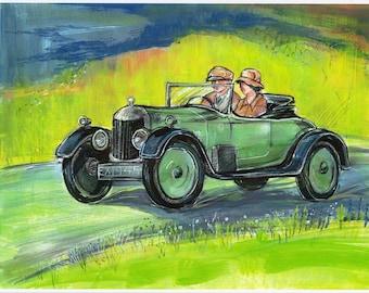 Car Painting  Downton Abbey Matthew Crawley AC SIX Fine Art Print from Original Artwork Green Art Work Watercolor Home Decor Old Automobile