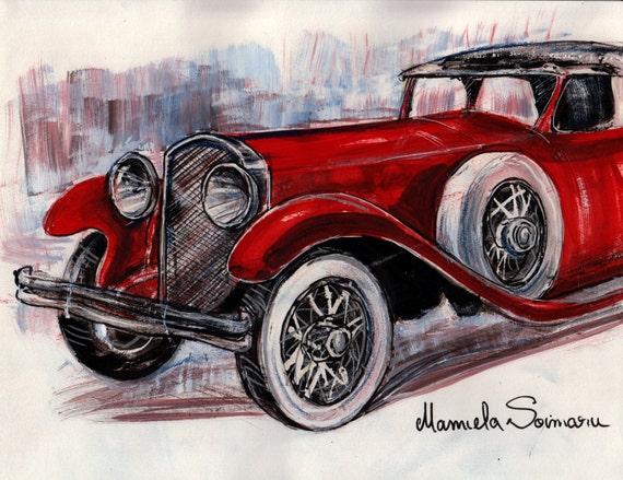 Downton Abbey Drawing Classic Car 1910s Car Vintage Car Etsy