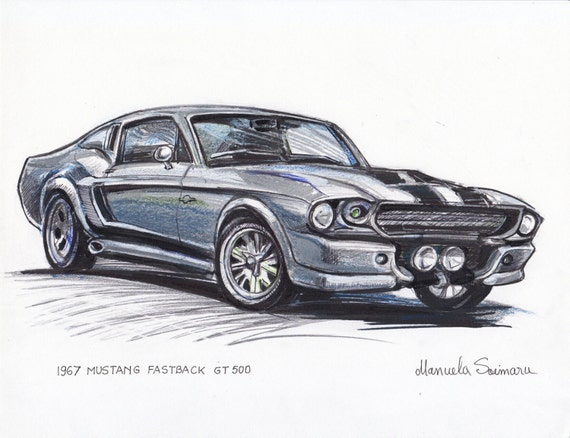 1967 Ford Mustang Fastback Eleanor Illustration Classic Car Etsy
