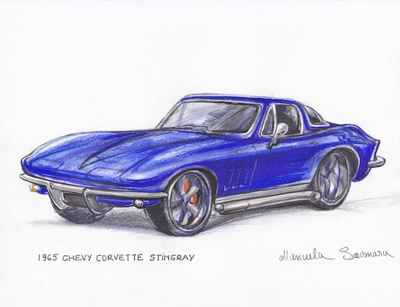 1965 Chevy Corvette Stingray Art Print Muscle Car Painting Man Etsy