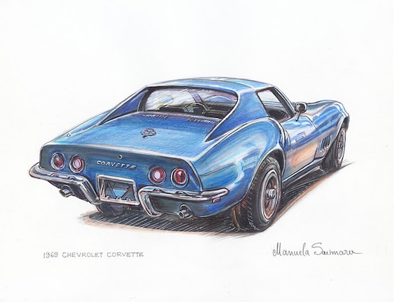 1969 Chevrolet Corvette Poster Car Classic Car Art Muscle Car Print Room Decor Auto Blue Painting Print Husband Gift Mens Birthday Present