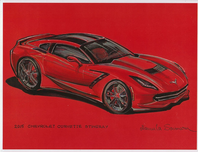 cca16533a63d 2015 Chevrolet Corvette Stingray Drawing Muscle Car