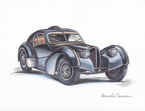 Dibujo De Coche Clásico Bugatti Edición Limitada Impresión Etsy