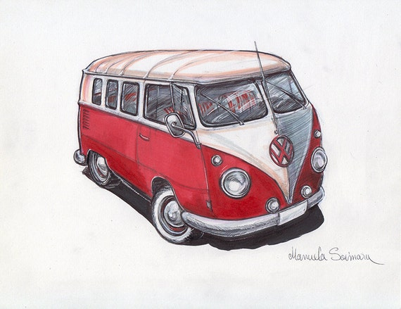 Volkswagen Bus Art Print Old Vw Camper Van Drawing Poster Wall Etsy