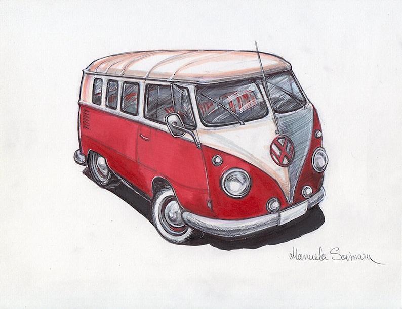 volkswagen bus art print old vw camper van drawing poster wall | etsy