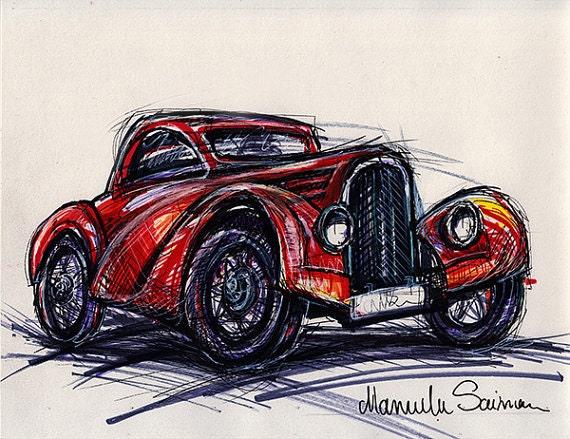 Voiture classique croquis vieux bugatti wall art vieille etsy - Dessin vieille voiture ...