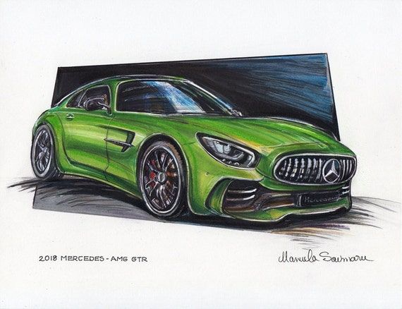 2018 Mercedes Amg Gtr Art Print Muscle Car Painting Green Etsy
