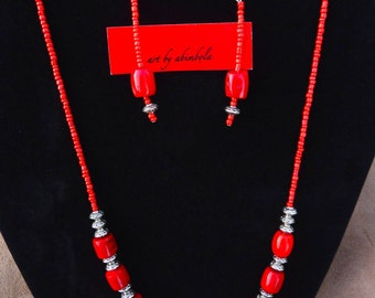 Ethnic necklace and earrings set in coral or aqua