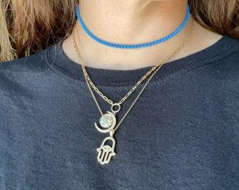Box Chain Necklace, Bold Necklace, Colorful Choker, Minimalist Layering Chain
