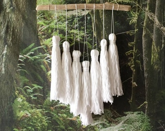 yarn tassel mobile, woven wall hanging, woven tapestry, tassel garland, yarn bunting, nursery mobile, bohemian tapestries, yarn tassels