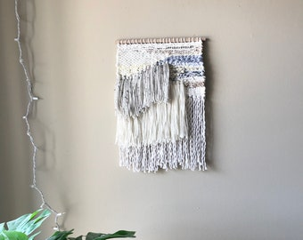 woven wall art, woven wall hanging, wall weaving, weaving, woven tapestry, fiber art, yarn wall hanging, shaggy wall hanging, boho wall art
