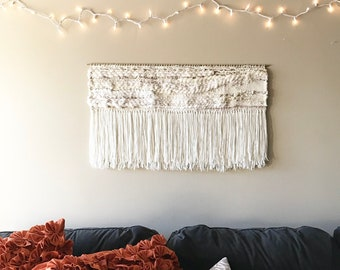large wall hanging, woven wall hanging, large weaving, yarn wall hanging, woven tapestry, weaving, bohemian decor, large tapestry, macrame