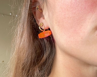 Small Neon Pink Earrings, Hot Pink Dangle Earrings, Laser Cut Fun Acrylic Earrings, Tiny Drop Earrings