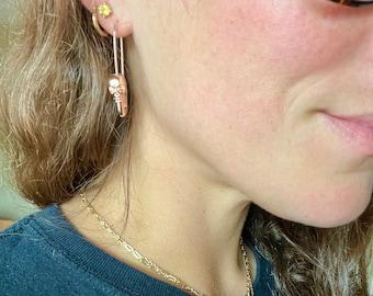 Skull Safety Pin Earrings, 14K Rose Gold Plated Dangle Earrings, Skeleton Spooky Halloween Earrings