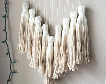 dip dye tassel wall hanging, tassel mobile, yarn wall hanging, dip dye wall decor, bohemian tapestries, tassel garland, bohemian nursery