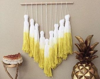 tassel mobile, yarn tassel garland, dip dye tassels, dip dye mobile, bohemian nursery, woven wall hanging, yarn tassels, wall woven decor