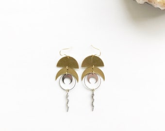moon and snake earrings, crescent moon, geometric earrings, geometric dangle, circle earrings, half circle earrings, half circle jewelry