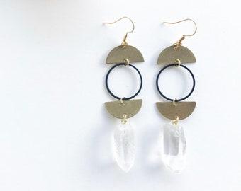 half circle earrings, quartz earrings, quartz points, crystal earrings, crystal jewelry, brass and quartz, circle earrings, geometric shapes