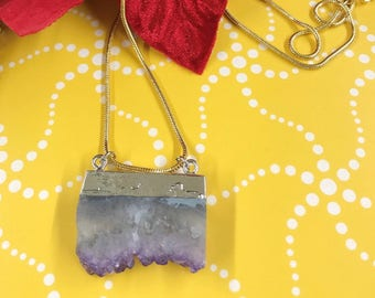amethyst slice pendant, amethyst necklace, crystal necklace, amethyst jewelry, crystal pendant necklace, amethyst slice, statement necklace