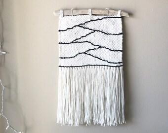 neutral weaving, woven wall hanging, driftwood wall hanging, yarn wall hanging, woven tapestry, woven wall art, neutral decor, fiber artwork