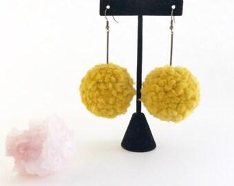 mustard pom poms, pom pom earrings, mustard earrings, yellow pom poms, pom pom jewelry, mustard jewelry, fiber accessories, woven earrings