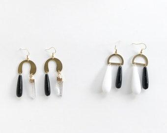 crystal dangle earrings, tear drop earrings, crystal earrings, horseshoe earrings, brass and crystals, acrylic earrings, geometric earrings