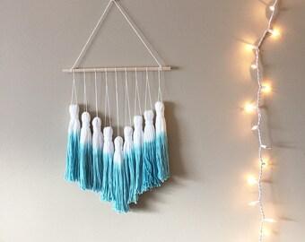 tassel garland, tassel wall hanging, wall tassels, tassel banner, dip dye tassels, tassel mobile, woven wall hanging, macrame wall hanging