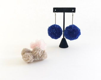 pom pom earrings, blue pom poms, pom pom drop earrings, antique brass earrings, pom pom jewelry, fiber jewelry, circle earrings, pom poms
