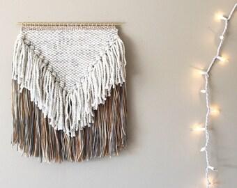 woven wall hanging, macrame wall hanging, weaving, wall weaving, yarn wall hanging, mid century modern decor, bohemian tapestry, fiber art