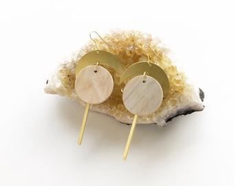 crescent moon earrings, moon jewelry, geometric shape earrings, brass earrings, brass and wood, wood jewelry, circle earrings, waxing moon
