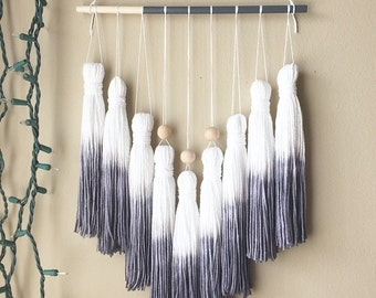tassel mobile, tassel garland, yarn wall hanging, dip dye wall decor, wall tassels, woven wall hanging, fabric tassels, bohemian tapestries