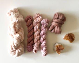 diy weaving kit, weaving yarn pack, yarn for weaving, merino wool, rose quartz, diy yarn kit, yarn tapestry, woven wall hanging, weaving