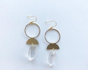 circle and quartz earrings, half circle earrings, crystal drop earrings, brass earrings, geometric earrings, circle jewelry, quartz jewelry