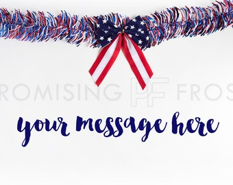 Download Free Styled Stock Photography | Red White & Blue American Flag Bow with Red White Blue Garland on White Desktop | Product Mockup | Digital Image PSD Template