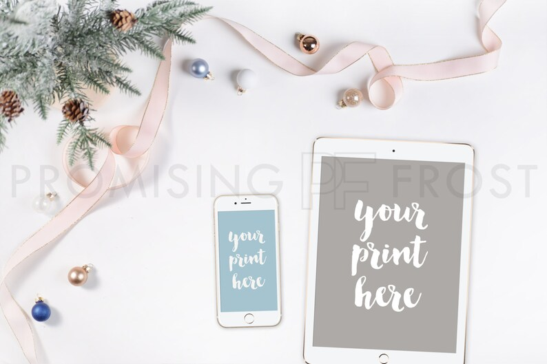 4451740c743d Styled Stock Photography | iPad, iPhone, Ribbon, Ornaments, Christmas Tree,  Pinecones on White Tech Desktop | Product Mockup | Digital Image