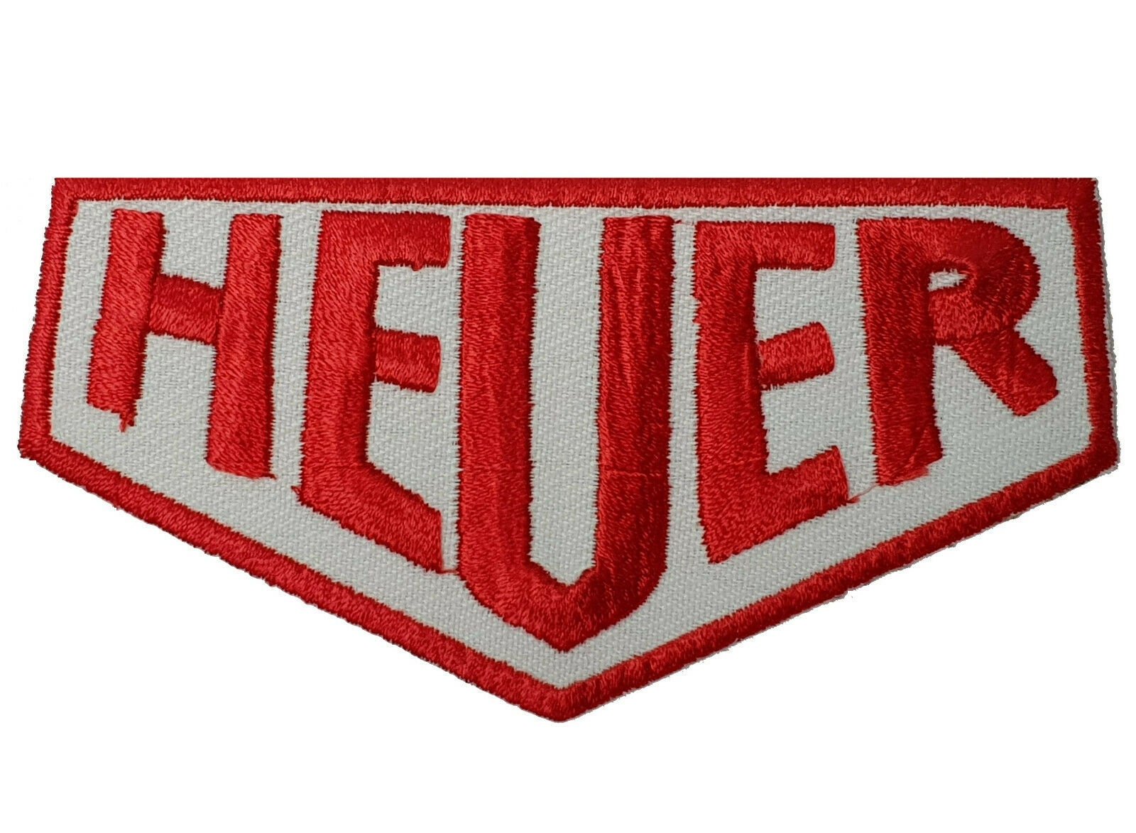 HEUER  White /& Red Racing Iron// Sew-on Embroidered Patch// Logo//Badge