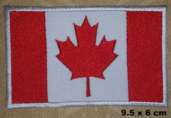 NATIONAL FLAG COUNTRY SHIELD SEW ON IRON ON EMBROIDERED PATCH: a CANADA