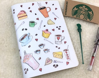 Flat White Recycled Coffee Cup Cartridge Paper Travelers Notebook Insert A5 Field Notes Pocket A6 Sketchbook Watercolour Fountain Pen