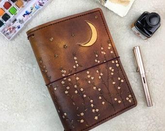 All Sizes Antique Brown Starlight Daisy Travelers Notebook Elrohir Leather Fauxdori Midori A4 A5 B6 A6 Cahier B6 Pocket Regular Passport A7