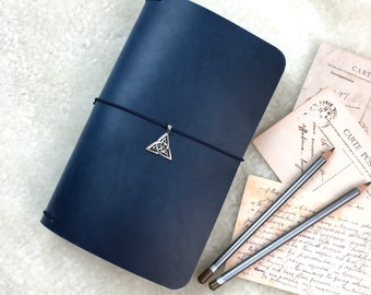 Elrohir Leather Ocean Rain Standard Traveler's Notebook Midori Narrow Travel Journal Book Blue leather Cover Blue Leather Bujo planner