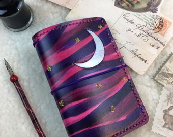 Pink/Purple Starry Sky Travelers Notebook Elrohir Leather Planner A4 A5 A6 B6 Slim Cahier Pocket Regular Standard Personal Passport A7