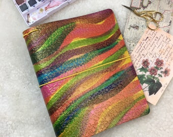 A5 Rainbow Stars Extra Wide Travelers Notebook Elrohir Leather Planner Cover Bujo Art Sketchbook Travel Journal Starry sky READY TO SHIP
