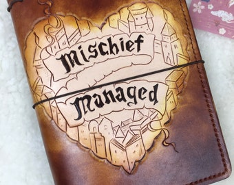 Ready to Ship A5 Wide Mischief Managed Travelers Notebook  Elrohir Leather LT1917 Planner Bullet journal bujo travellers Harry Potter