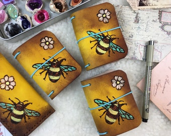 A8 Leather Travelers Notebook Burning Bees Elrohir Leather Midori cover mini bujo planner bullet journal dolls fairy book diary
