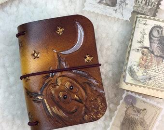 All Sizes Brown Owls Travelers Notebook Elrohir Leather Midori Standard A4 A5 B6 A6 Cahier B6 Pocket Regular Passport tree stars moon bird