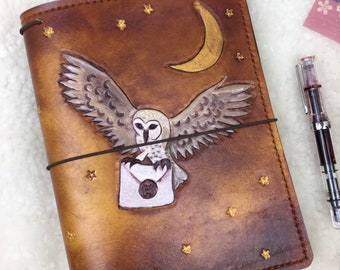 Ready to Ship A5 Wide Owl Post Travelers Notebook  Elrohir Leather LT1917 Planner Bullet journal bujo travellers Harry Potter